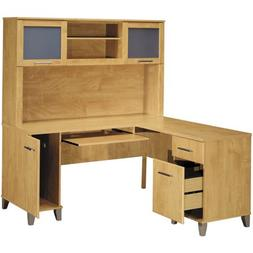 "Bush Somerset 60"" L-Shaped Computer Desk and Hutch Set"