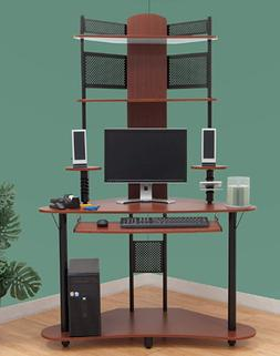 Student Computer Desk Corner Tower Unit Wood Multimedia Stor