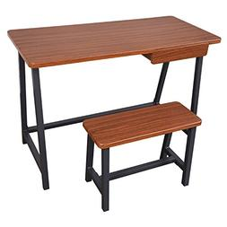 Offex Student Dorm Desk and Stool in Mahogany Finish