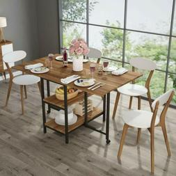 Sturdy Expandable Folded Dining Table with 2 Drop Leaf and 2