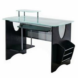 Techni Mobili Stylish Frosted Glass Top Computer Desk with S