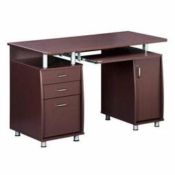 Pemberly Row Super Storage Computer Desk in Chocolate Finish