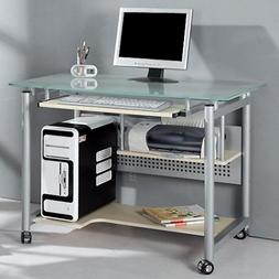 Techni Mobili Frosted Glass Top Compact Computer Workstation