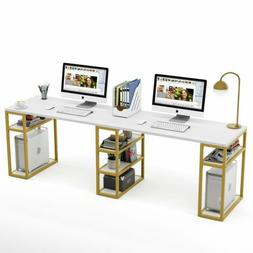 Two Person Desk with Storage Shelf Double Workstation Execut