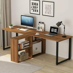 Tribesigns Two Person Desk with Storage Shelves Double Works