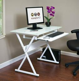 OneSpace Ultramodern Glass Computer Desk with Pull-Out Keybo