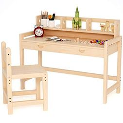 Tribesigns Unfinished Kids Study Desk and Chair Set with Hut