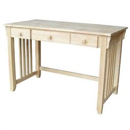 Unfinished Wood Computer Desk with Pull-Out Keyboard Tray an