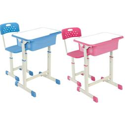 US Student Desk and Chair Set Adjustable Child Study Home Fu