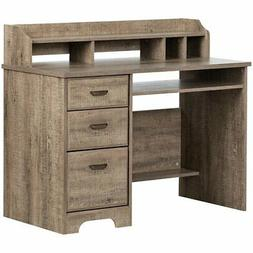 South Shore Versa Computer Desk with Hutch in Weathered Oak