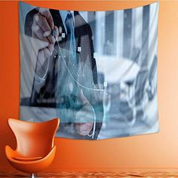Muyindo Wall Tapestries double exposure of businessman hand
