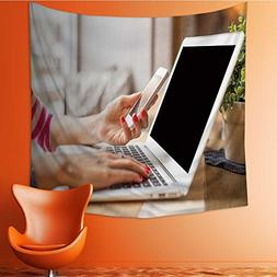 Muyindo Wall Tapestries woman using computer and smartphone