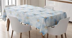 Ambesonne Watercolor Flower Tablecloth, Pastel Floral Patter