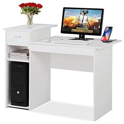 Topeakmart Small White Computer Desk with Drawers and Printe