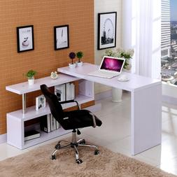 White Corner Computer Desk Rotating L Shape Gaming Study PC