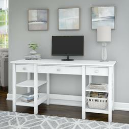 White Rectangular 60W Computer Desk With Storage Shelves And