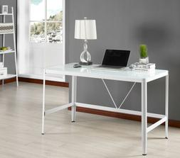 Kings Brand Furniture White Tempered Glass Home Office Compu