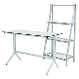 Flash Furniture Winfield Bookcase With Desk In Clear And Whi