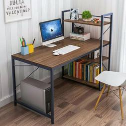 Wood Computer Desk with 4 Tier Shelves Modern PC Desk Home O