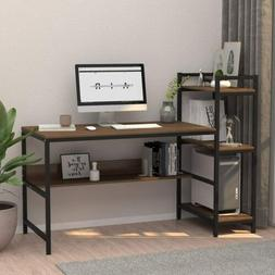 Wood Computer Desk with 4 Tier Storage Shelves 41.7'' Study