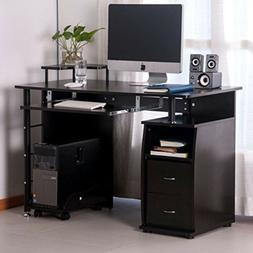 Espresso Computer Desk Home Office Wood Table with Keyboard