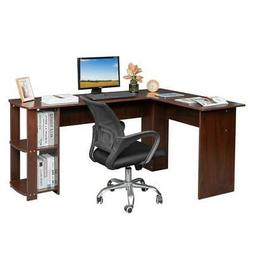 Wood L-Shaped Computer Desk Home Office Laptop PC Table 2 Bo