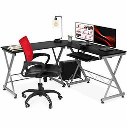 Wood L-Shape Corner Computer Desk PC Laptop Table Workstatio