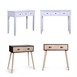 Wood Small Desk Writing Computer Retro Table w/Drawers Lapto