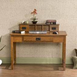 Wood Writing Computer Desk with Hutch - Mission Oak Finish