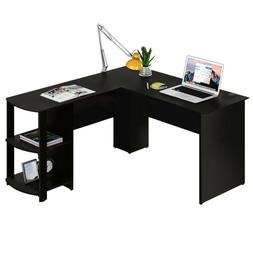 Wooden L-Shaped Computer Desk Home Office Laptop PC Table Bo