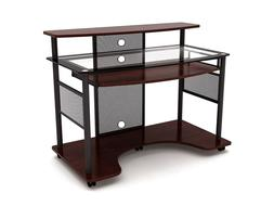 Workstation Computer Desk Home Studio Modern Cherry Finish O