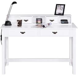 Giantex Writing Desk with 4 Drawers 2-Tier Mission Home Offi