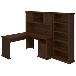 Bush Furniture Yorktown L Shaped Desk with Hutch and Bookcas